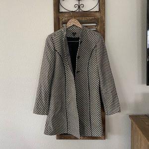 Madison Black & White Floral Pea Coat Size 6